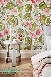 tropical patrn papel pintado hibisco extrable papel pintado hojas de palmera tropical adhesivo de