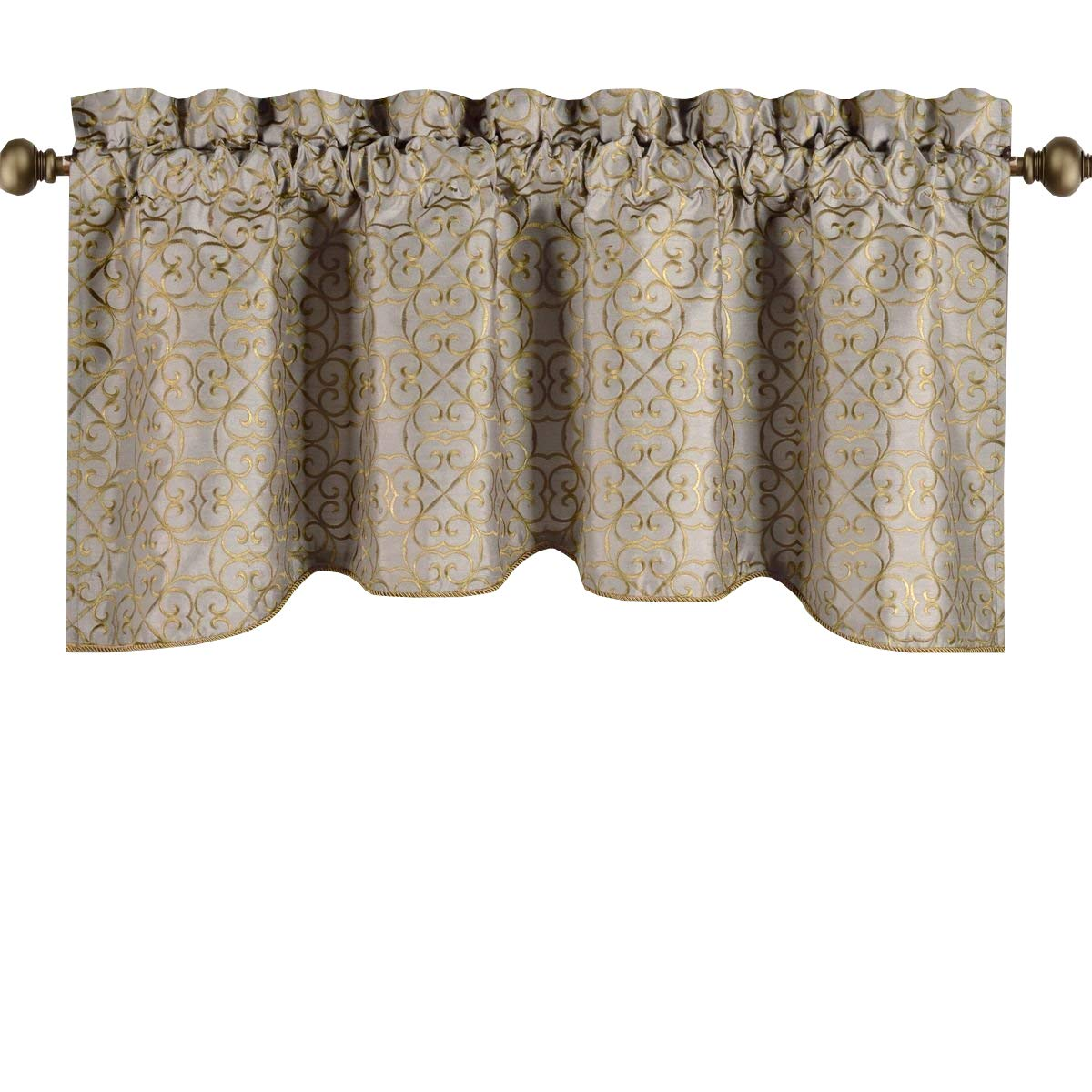 Royal Hotel Halifax Taupe Valance, Scalloped Decorative Rope Embroidered Lined Valance, 50x19 inches