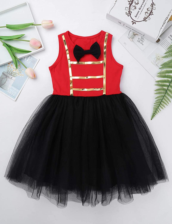 YiZYiF Kids Girls Christmas Halloween Party Sparkly Circus Rings Master Inspired Princess Tutu Dress Dance Costume