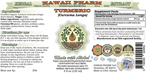 Turmeric Alcohol-Free Liquid Extract, Organic Turmeric Curcuma Longa Dried Rhizome Glycerite 2×2 oz