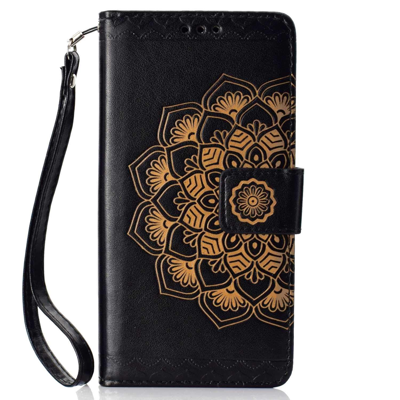 Coque Huawei P20 Pro, SONWO La Mode Motif de Mandala Fleurs Flip en Cuir PU Housse Etui avec Fermoir magnétique, Fentes de la Carte pour Huawei P20 Pro, Noir