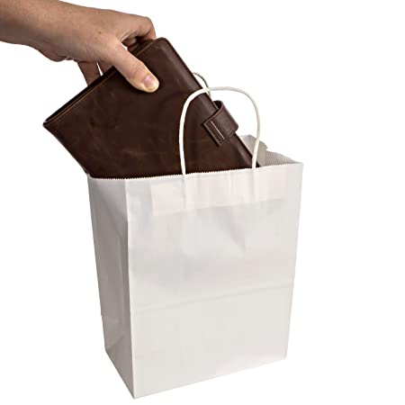 Amazon.com: Bolsas de papel kraft de color blanco con asas ...