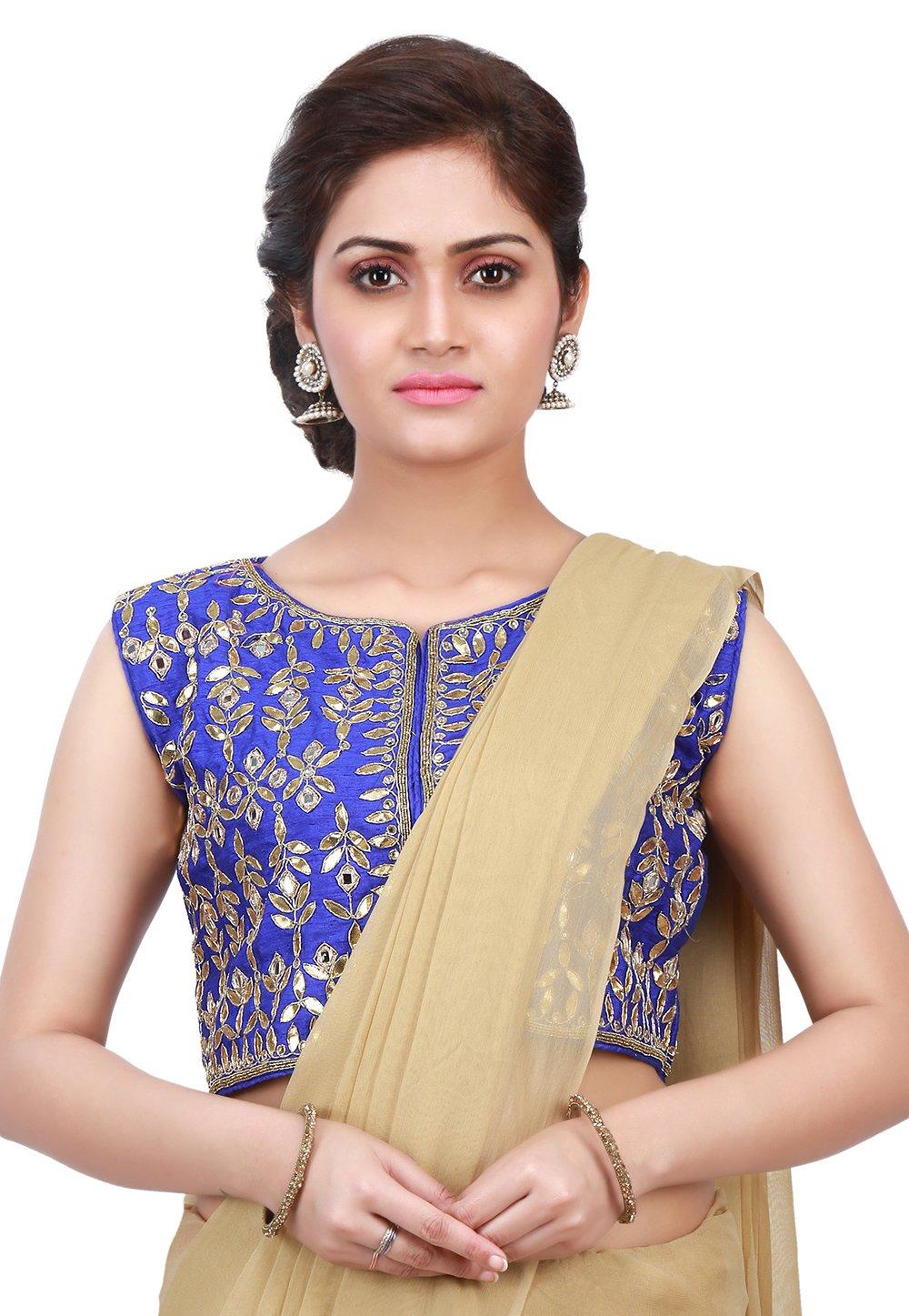Utsav Fashion Embroidered Dupion Silk Jacket Style Blouse in Indigo