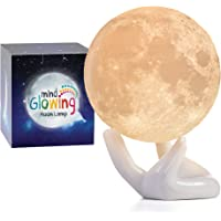 Mind-glowing 3D Moon Lamp - Warm and Lunar White Night Light (Mini, 3.5in) with Ceramic Hand Stand - Nursery Decor for…