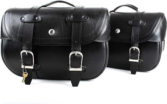 Satteltaschen Schwarz Breite 44 Cm Set 2 Stück Packtaschen Mit Schloss Motorrad Tasche Auto