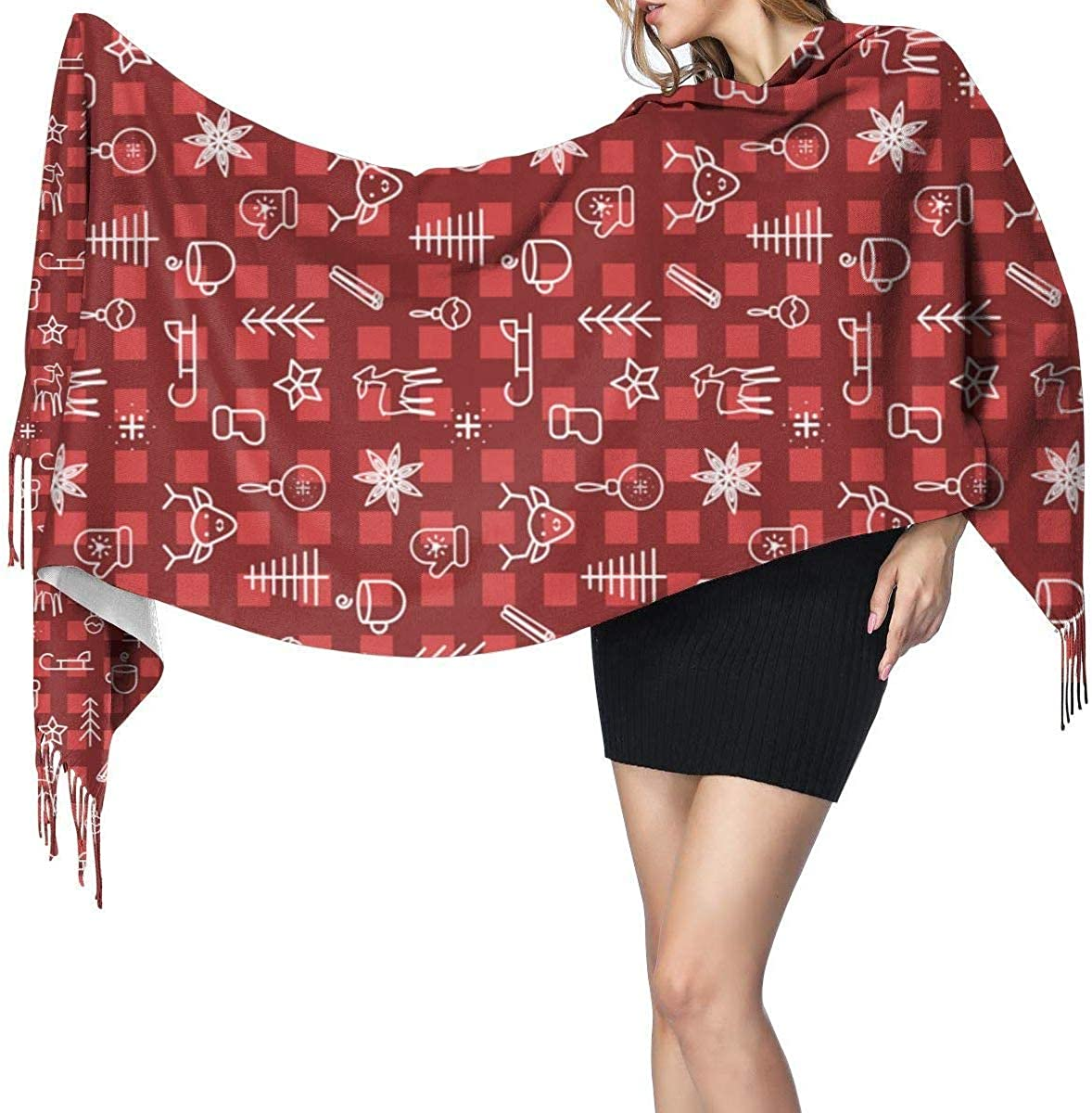 Red Checkered New Year Cashmere Scarf Shawl Wraps Super Soft Warm Tassel Scarves For Women Office Worker Travel