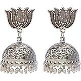 Geode Delight Traditional Ethnic Fusion Handmade German Silver Oxidised Lotus Designer Jhumka Jhumki Earring for Women & Girls