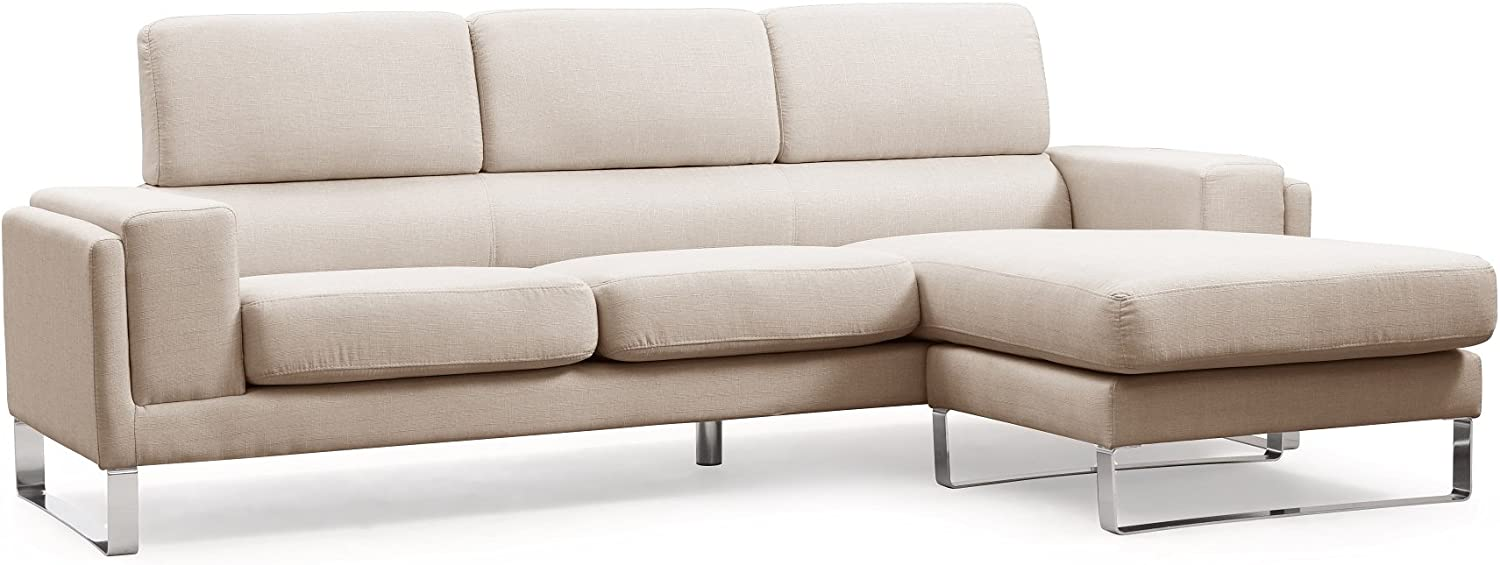 US Pride Furniture Modern Fabric Upholstered Reversible Sectional Sofa with Chaise and Chrome Leg Finish Off White