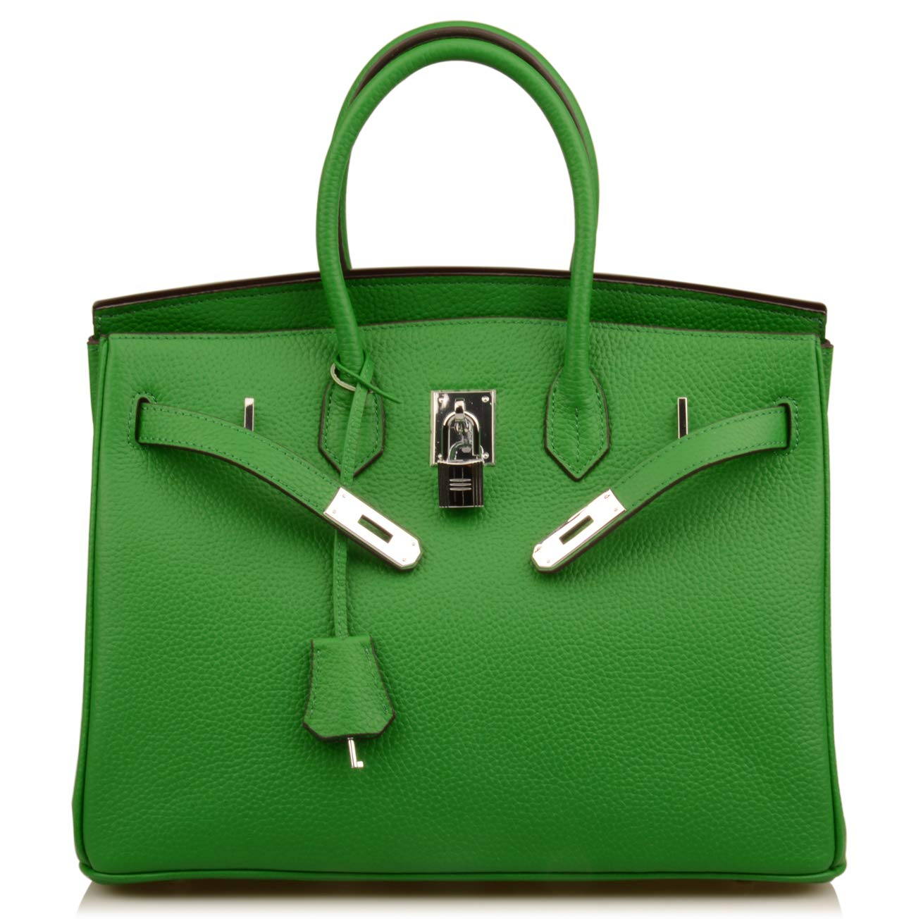 Qidell Women's Padlock Handbags With Silver Hardware On Clearance (35 cm.Bamboo green)