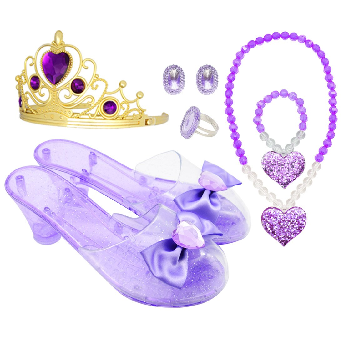 Princess Accessory Dress up Set,Shoes Necklace and Tiara Set,Fashion Beauty Set for Girls (Pur)