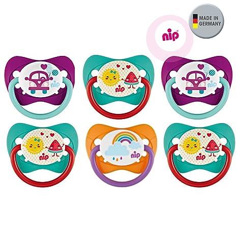 Nip Juego de látex natural Chupete tamaño 2 (5 – 18 Mo.) Látex 6 Pack Girls//Ventosa notebook de látex sin BPA fabricado en Alemania.
