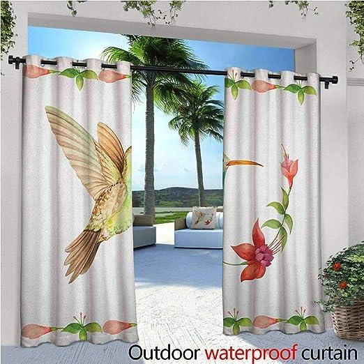 Hummingbird Cortina de privacidad para exteriores, para pérgola, colibrí y flores tropicales, para verano, con diseño de plantas exóticas, aislante térmico, repelente al agua, para balcón, color verde azulado y amarillo: Amazon.es: