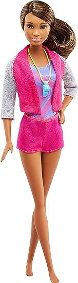 avec barre et accessoires FJB34 jouet pour enfant Barbie M/étiers Coffret poup/ée coach de gymnastique brune et son /él/ève
