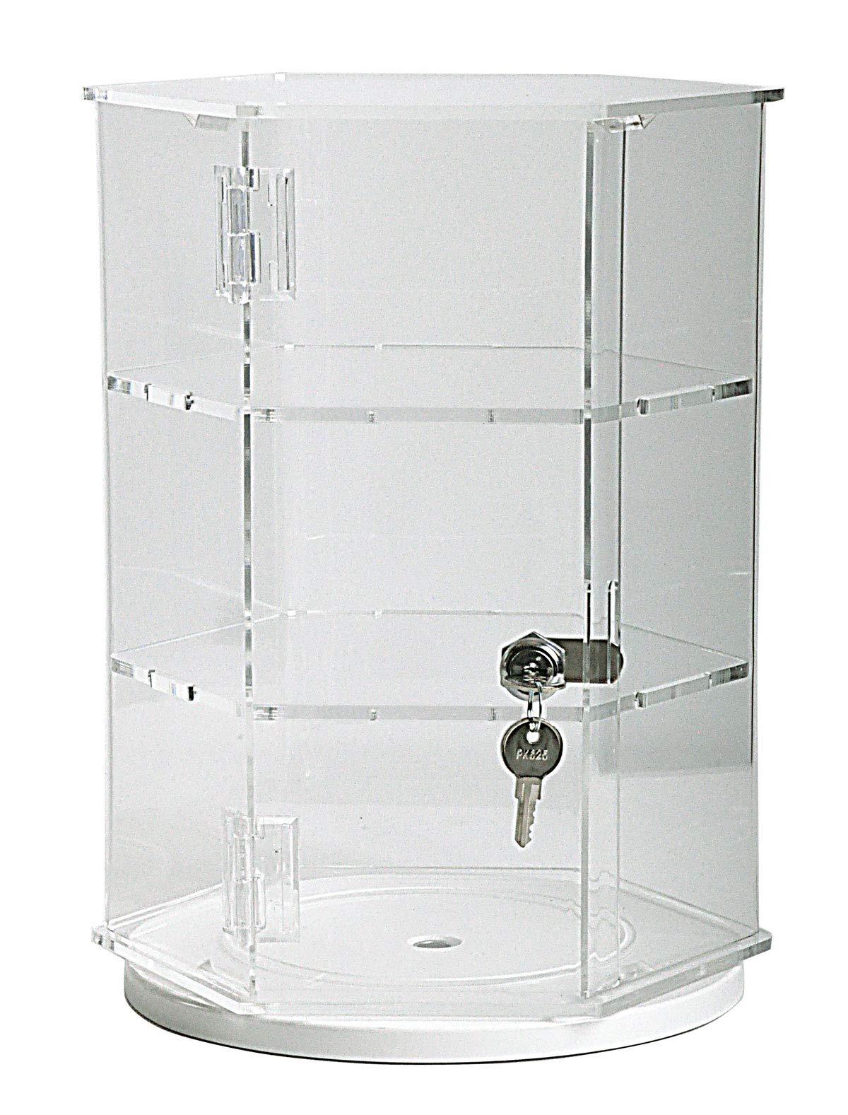 Hexagonal Acrylic Display Case - Locking (HX22R - 18'' Tall - 2 Shelves/Rotating Base)