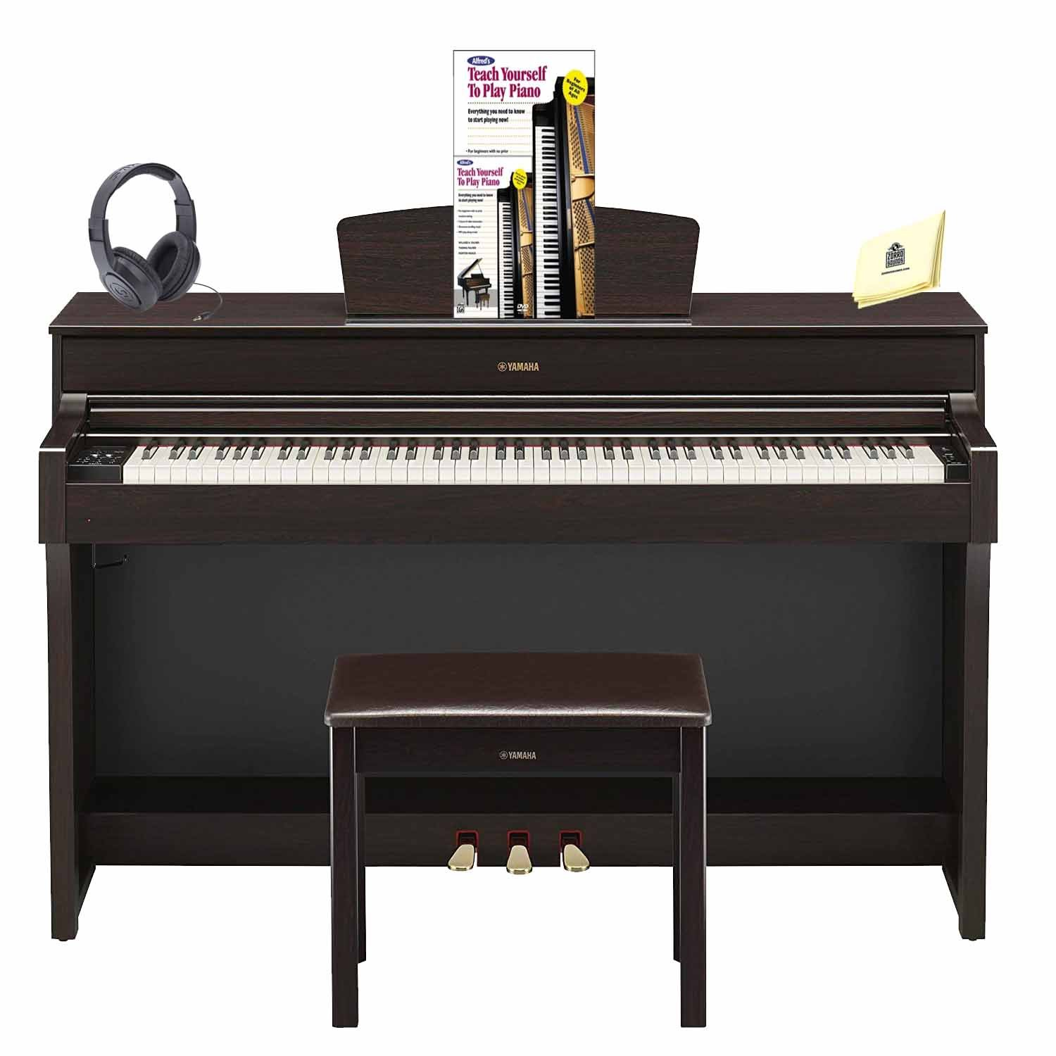Yamaha YDP-184 Arius 88-Key Digital Piano with GH3 Graded Hammer Keyboard & CFX Concert Grand Piano Sample (Included Music Book, Bench & AC Power Adapter) Piano (Book & DVD) Headphone and Piano Cloth by Yamaha
