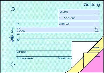 MwSt DIN A6 quer 50 Blatt 3 X Avery Zweckform Quittung Quittungsblock 300 inkl