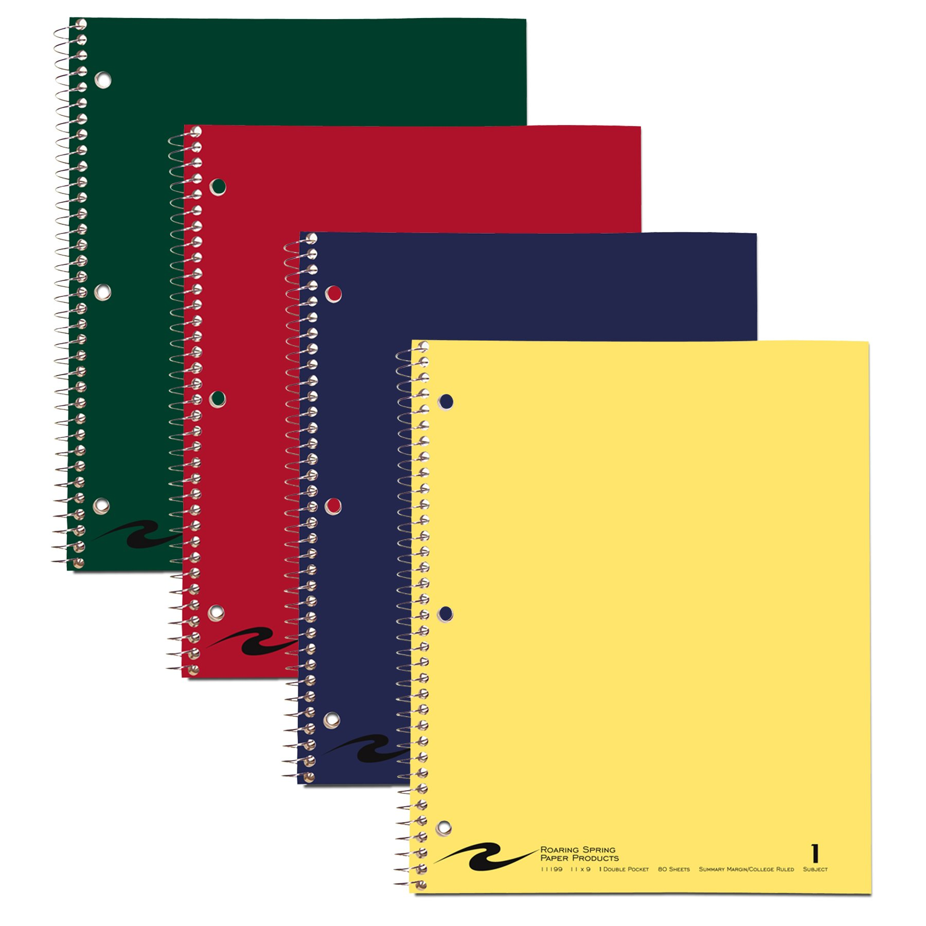 Case of 24 One Subject Notebooks, 11''x9'', 80 sheets of 15# White Paper, law Ruled, Perforated, Assorted Color covers by Roaring Spring (Image #2)