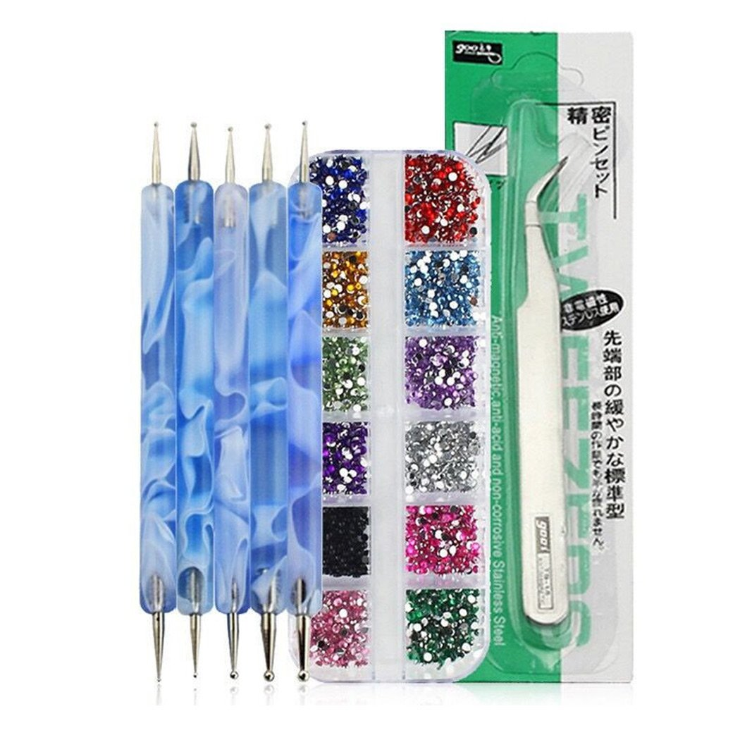 SIPLIV Nail Art Kit 12 Colors Nail Art Glitter Rhinestones(2mm) + 5pcs (10sizes) 2-way Dotting Tool Pen + Tweezer Professional Nail Salon Tool - Blue