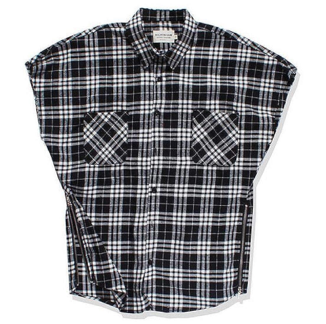 Jofemuho Mens Casual Sleeveless Pockets Hip Hop Plaid Print Button Down Shirts