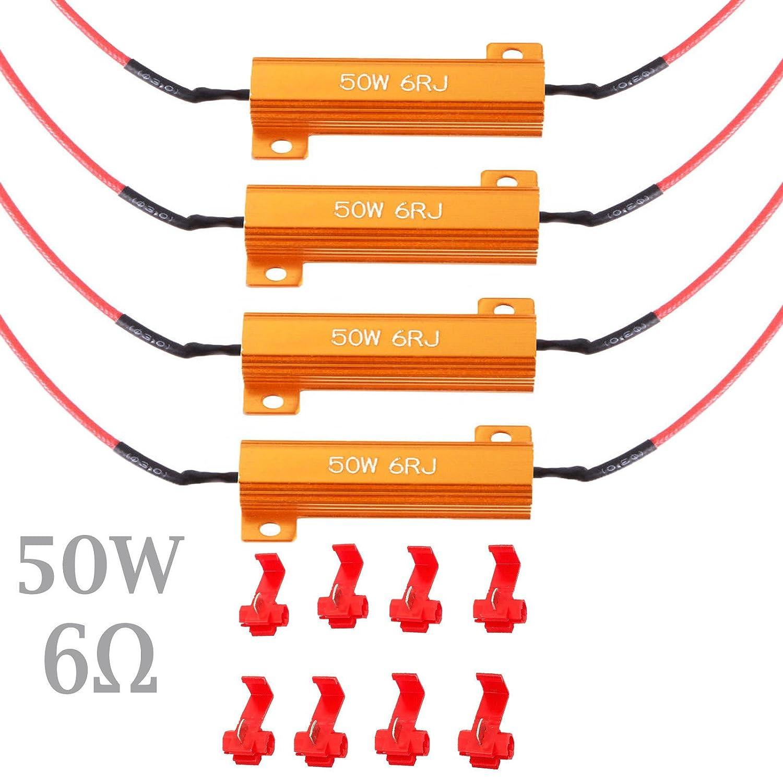 AUTOUTLET 4PCS 12V 50w 6-ohm Load Resistors Indicator Flash Rate Relay Bulbs Ballast