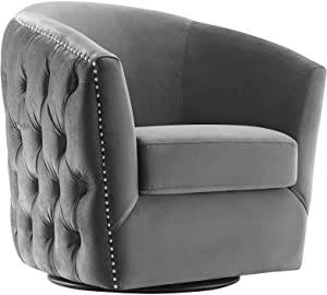 Modway Rogue Performance Velvet Barrel Back Accent Lounge Swivel Chair in Gray
