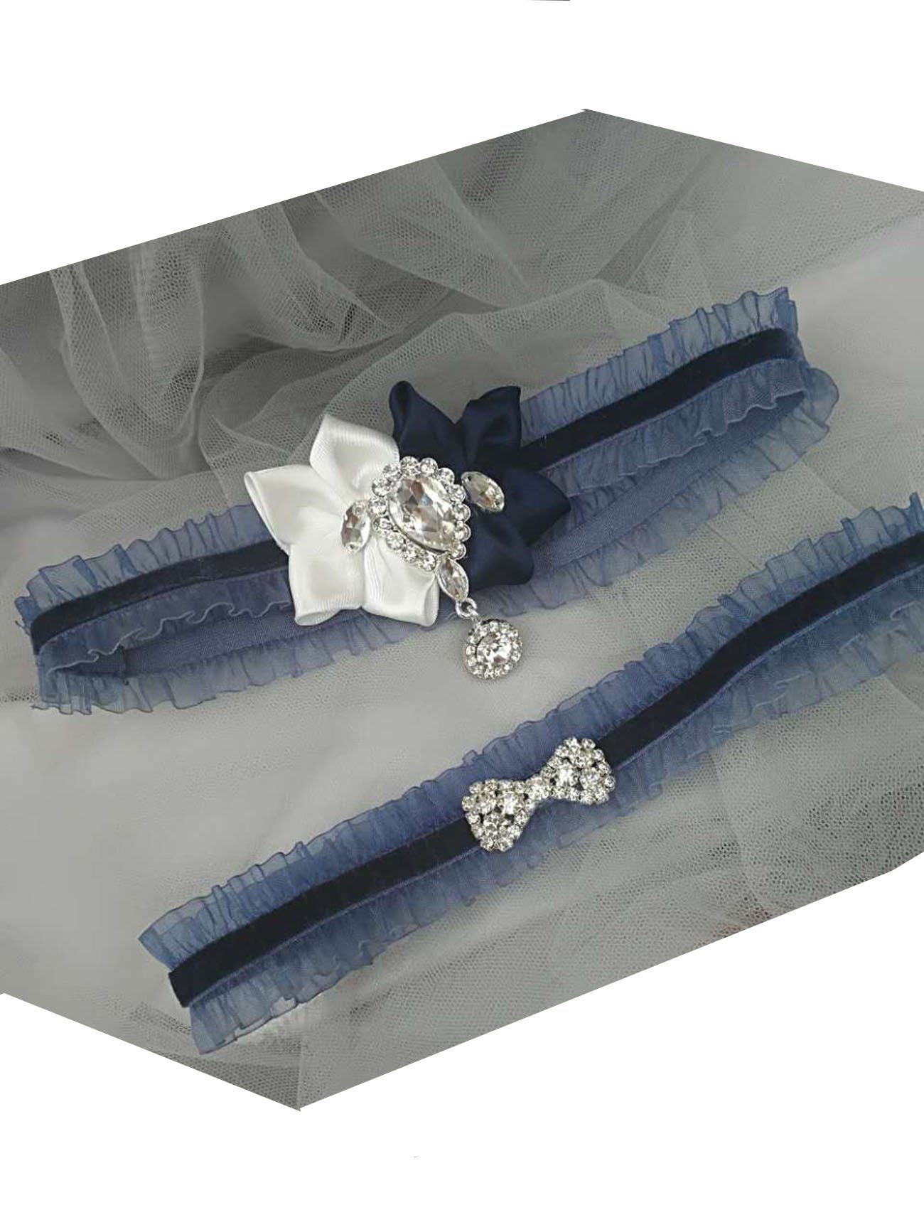 Original Flowers wedding garter set with bow crystals in velvet band (dark navy)