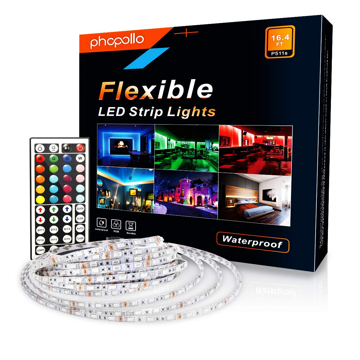PHOPOLLO Led Strip Lights Kit RGB Color DIY 5050 300leds 16.4ft 5m Waterproof for Home with 44 Keys Remote Controller