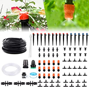 Drip Irrigation Kit, 141FT Garden Irrigation System, Adjustable Automatic Micro Irrigation Kits, Misting Cooling System Saving Water Irrigation System for Greenhouse, Patio, Lawn(40M+3M)