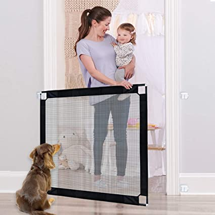 All Metal Pipe Frame Magic Gate for Dogs Lockable Baby Safety Gate U-picks Dog Gate 100 x 80cm Portable Dog Barrier Isolation Net for Stairway Doorway Indoor and Outdoor
