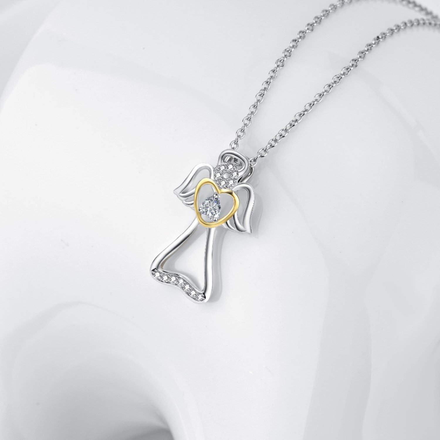CS-DB Angel Wings Crystal Pendants Silver Necklaces