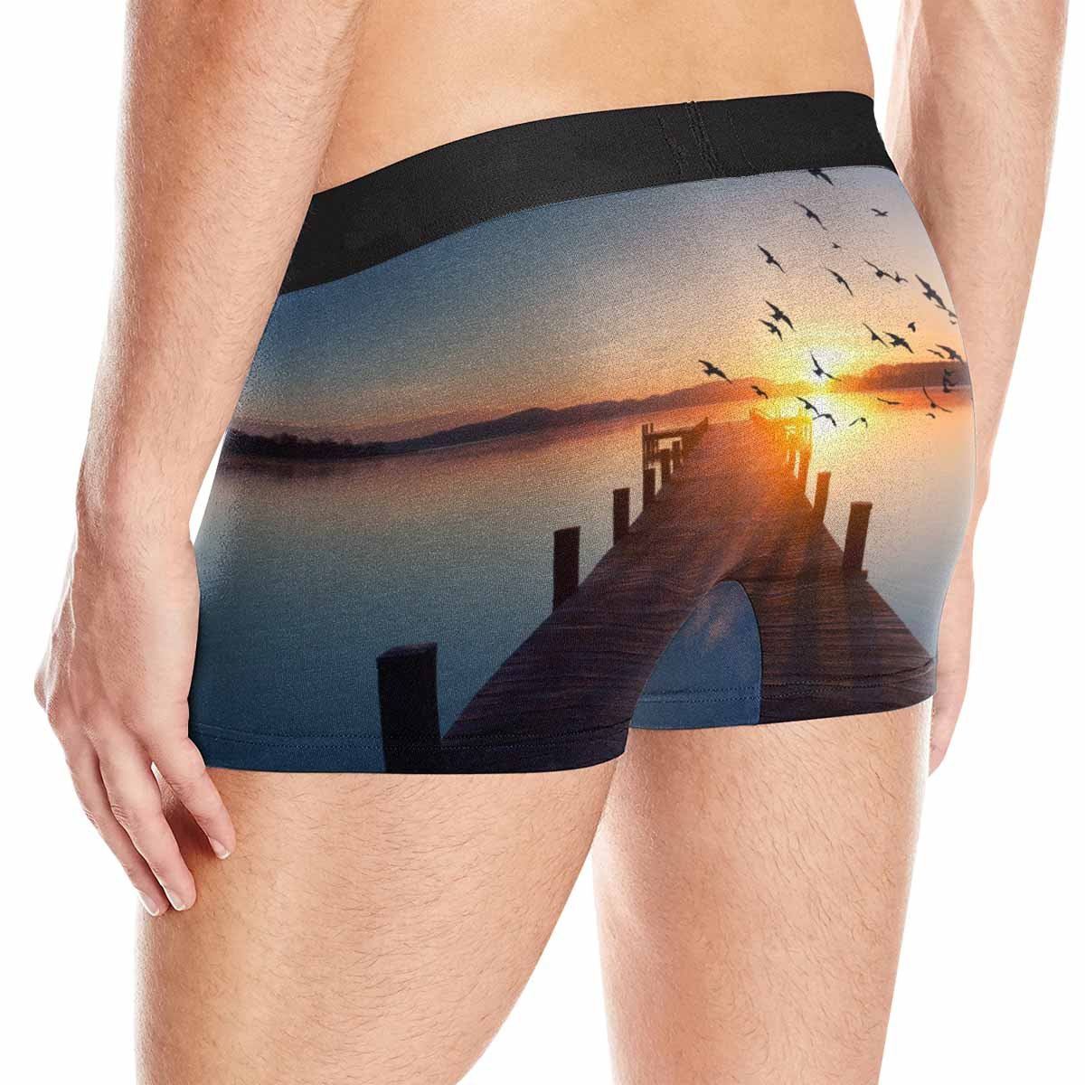 Long Way Out XS-3XL INTERESTPRINT Custom Mens Boxer Briefs Long Pier Leading Out onto The Lake Sunrise on Lake