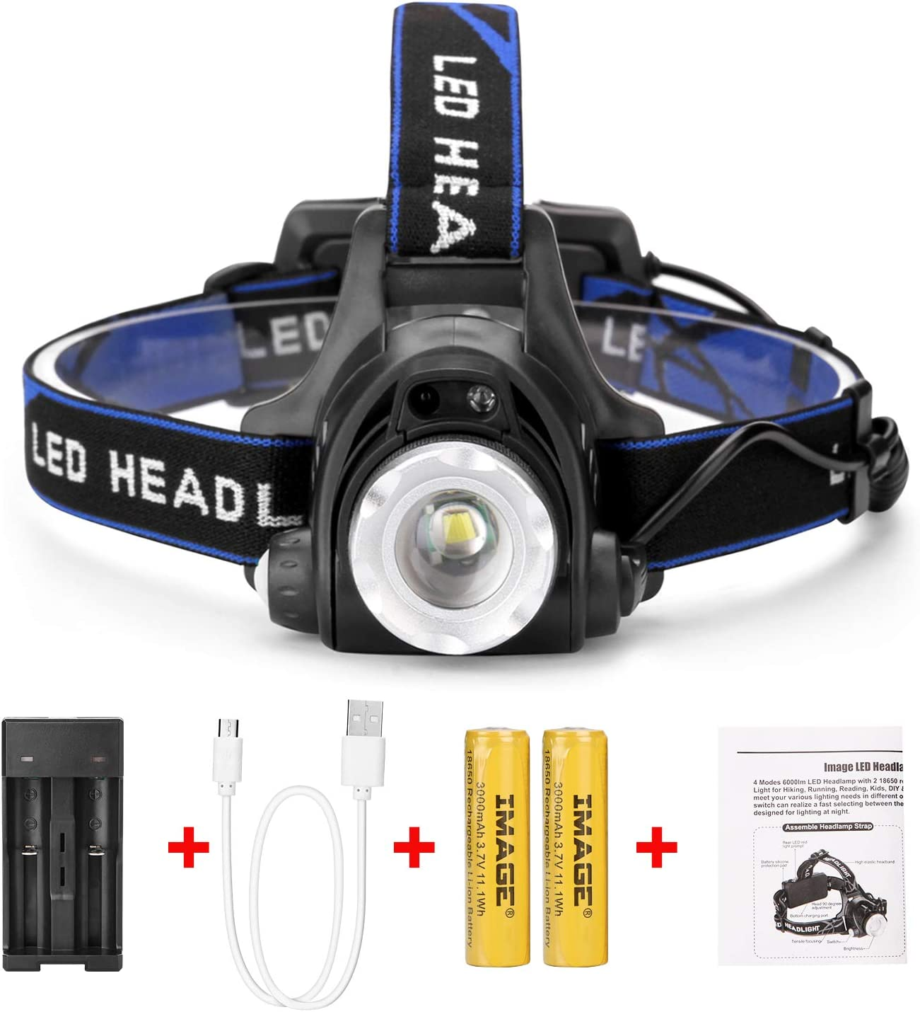 Rechargeable Head Torch Light Waterproofs LED Headlamps Headlight for Run//Fish