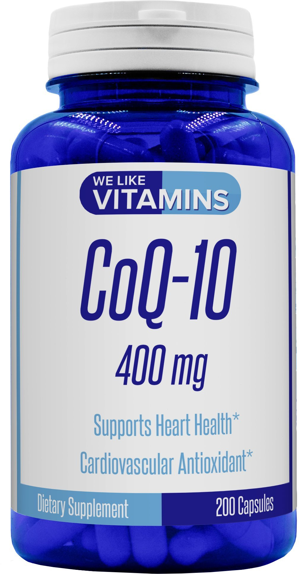 CoQ10 400mg Per Serving - 200 Capsules (Non GMO & Gluten Free) CoQ-10 - Antioxidant Co Q-10 Coenzyme Supports a Healthy Heart and Energy Levels by We Like Vitamins