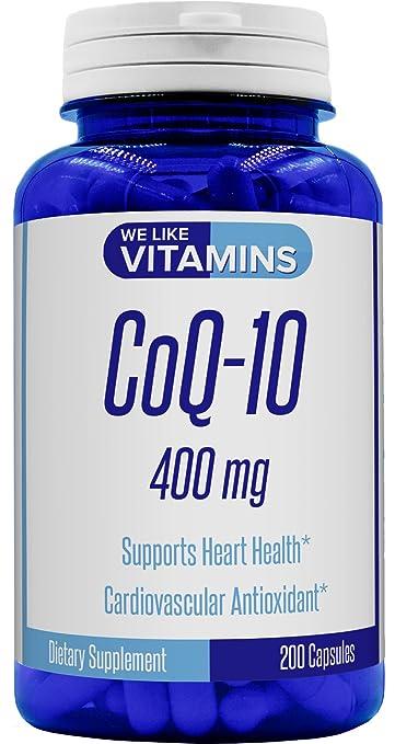 CoQ10 400mg Per Serving - 200 Capsules (Non GMO & Gluten Free) CoQ-10 -  Antioxidant Co