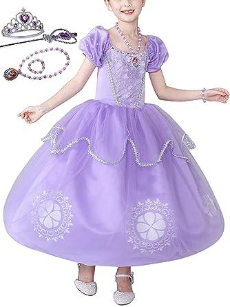87eed2a3e4d85 Eleasica Haute Qualité Robe de Cosplay Princesse Sophia Couronne Baguette  Magique Collier Bracelet Déguisements Cobfortable Violet Halloween Noël ...