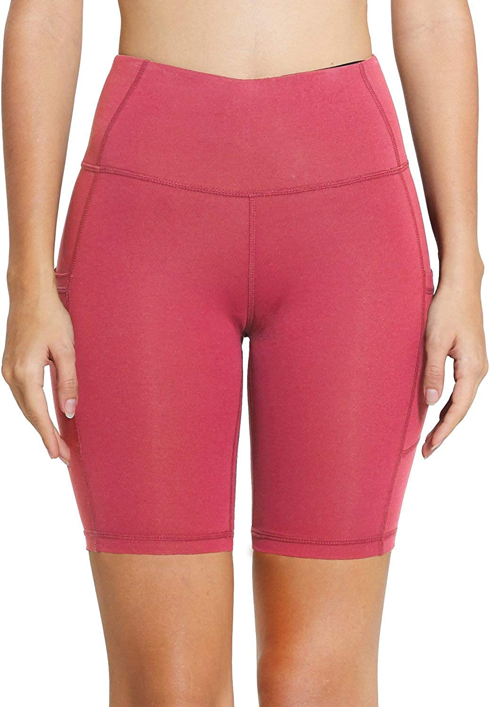 BALEAF Womens 8 //5 //2 High Waist Workout Biker Yoga Running Compression Exercise Shorts Side Pockets Regular//Plus Size