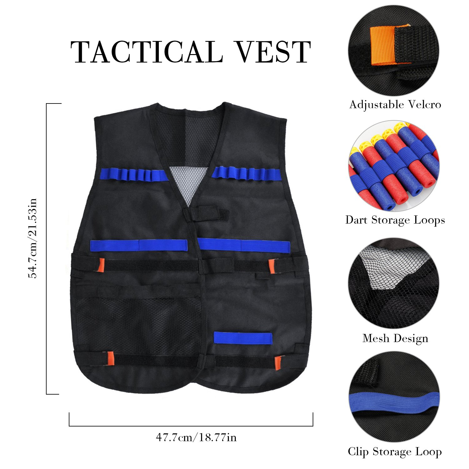 Tactical Vest Kit, KKtick Kids Elite Tactical Vest for Nerf Guns N-strike Series with 20 Refill Darts, 2 Reload Clips, 2 Face Tube Mask, 1 Hand Wrist Band and Protective Glasses