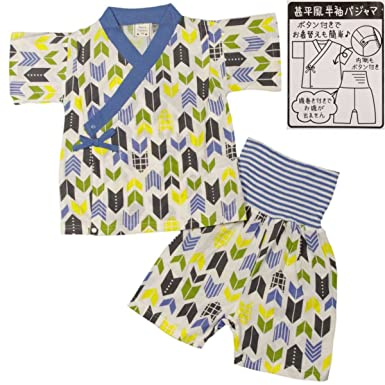 0ae646d30c86c ボーイズキッズパジャマ PETIT CADEAU 甚平風半袖パジャマ上下セット