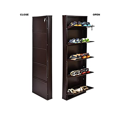 Orril O20 21-Inches Powder Coated 5 Door Steel Shoe Rack (Full Brown)