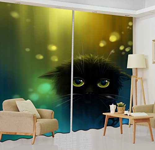 LB Teen Kids Black Cat Decor Room Darkening Blackout Curtains,Black Cat with Bright Eyes 3D Window Curtains Drapes for Living Room Bedroom 2 Panels Set,42 x 63 Inches