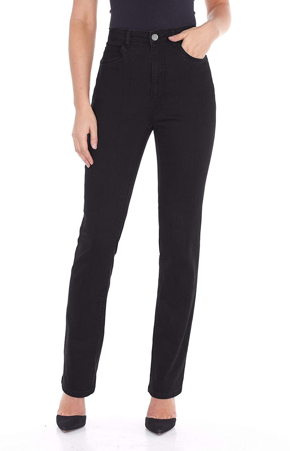Black French Dressing Jeans FDJ Peggy Straight Leg 5 Pocket Jeans Style  6627250