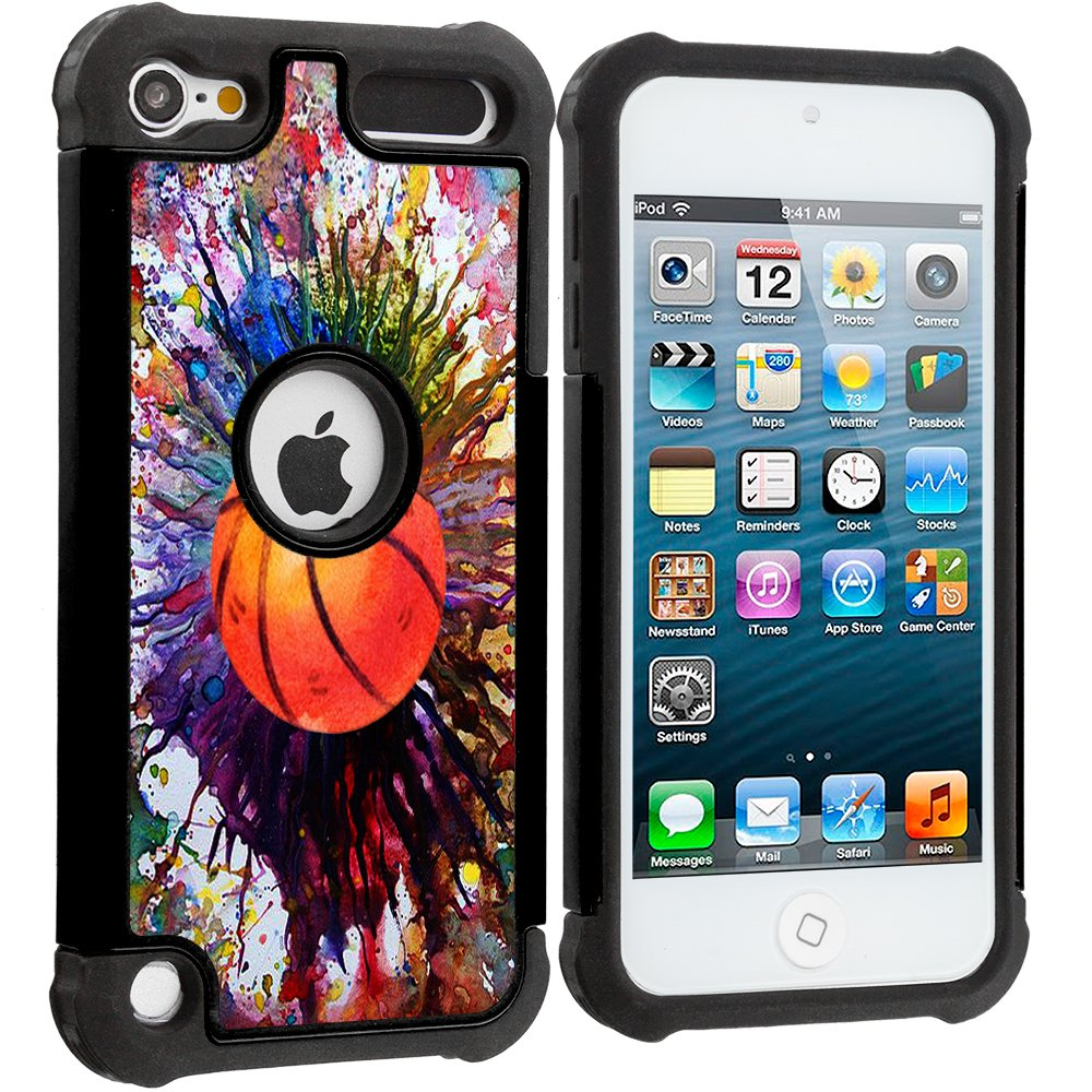 Corpcase - Hybrid Case for iPod Touch 6 / iPod Touch 5  - Basketball Paint Splatter / Unique Case With Great Protection
