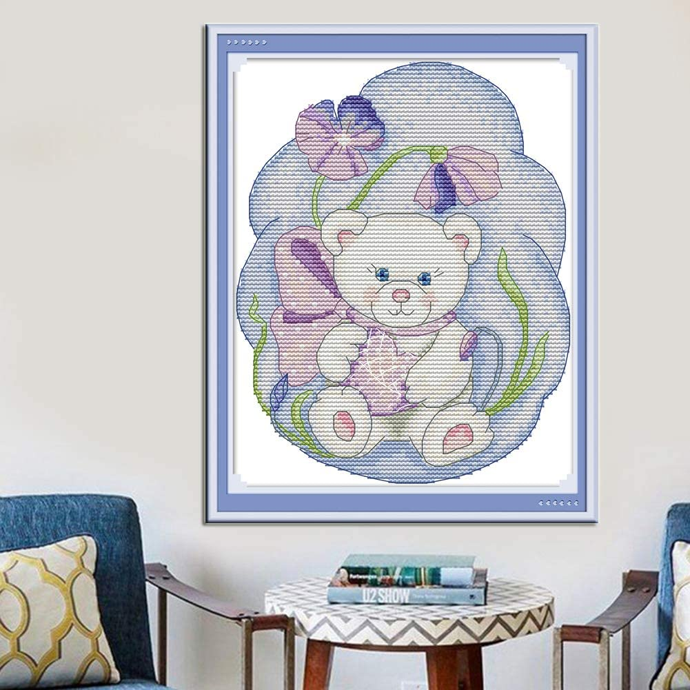 Bear Cross Stitch Embroidery Kits for Adults Kids WOWDECOR Animals Bear Flowers 11CT Stamped DIY DMC Needlework Easy Beginners
