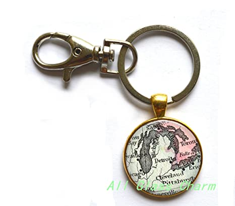 Amazon.com : Beautiful Keychain, DETROIT Charming Map - Map Jewelry ...