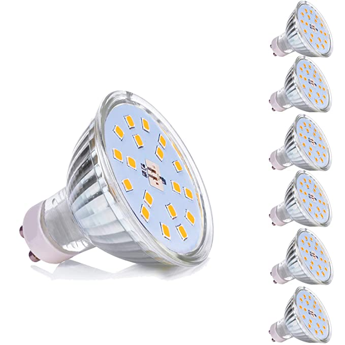 GU10 Bombillas LED 5W GU 10 Blanco Cálido 3000K AC 220V Equivalente a 50Watt Lámpara Halógena Spot Luz Foco Ojo de Buey 450LM No Regulable Pack de 6: ...