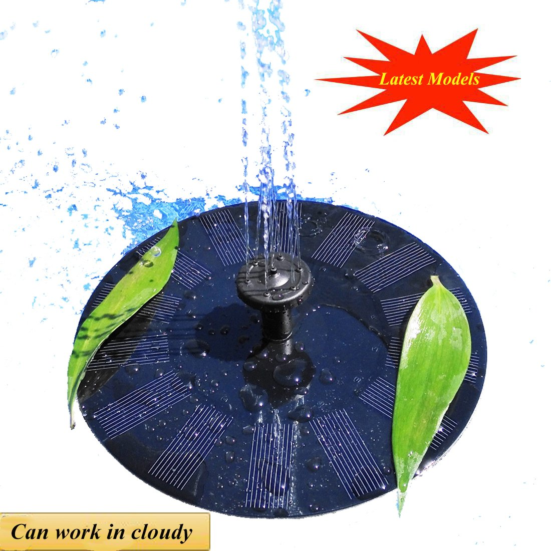 UFLYAY Solar Fountain Pump - 2018 Upgraded Can Work On A Cloudy Day - 1.4W Solar Panel Suitable Submersible Watering, Garden Decoration, Bird Bath, Fish Tank, Water Circulation Oxygen (Black)