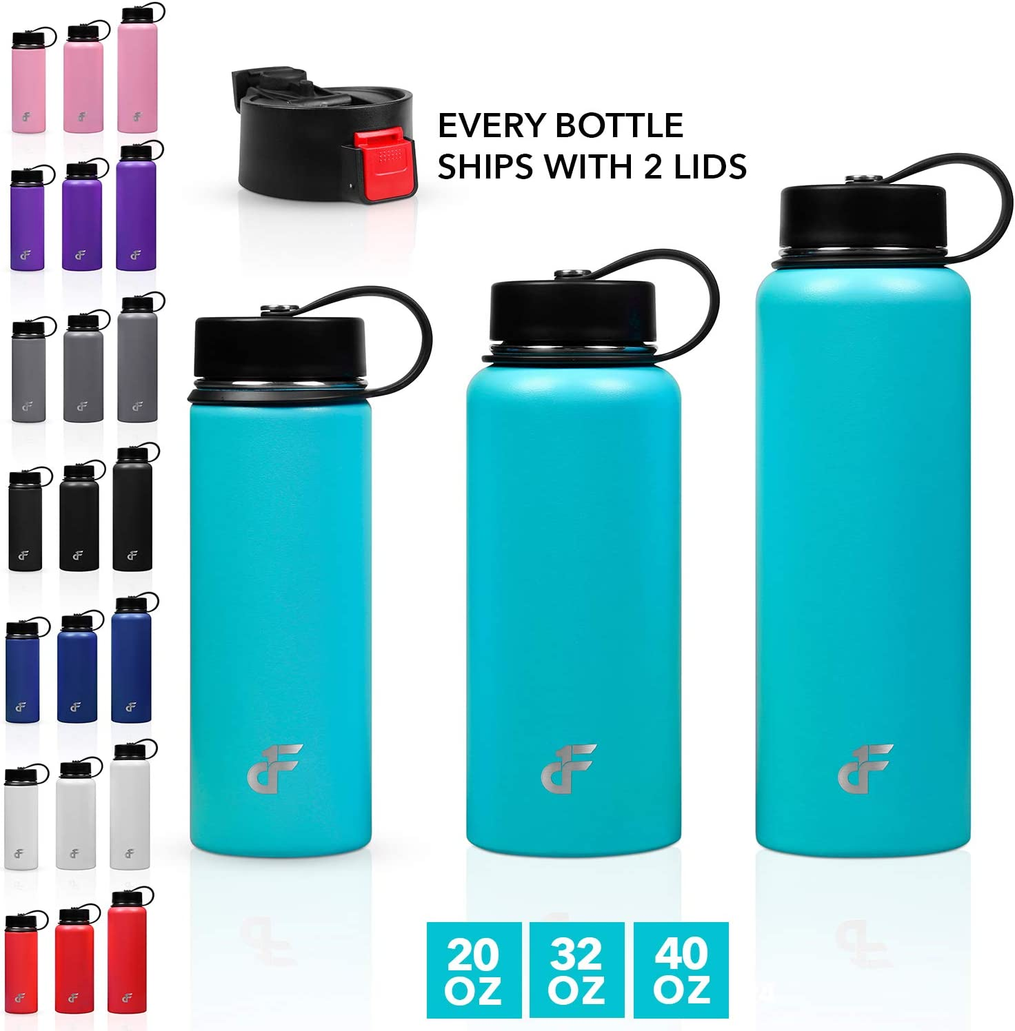 Day 1 Fitness 20 oz. Double Wall SS Wide Mouth Water Bottle 2 Lids Teal