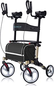 """ELENKER Upright Walker, Stand Up Folding Rollator Walker with 10"""" Front Wheels, Padded Armrests, Seat and Backrest for Seniors and Adults, Champagne"""