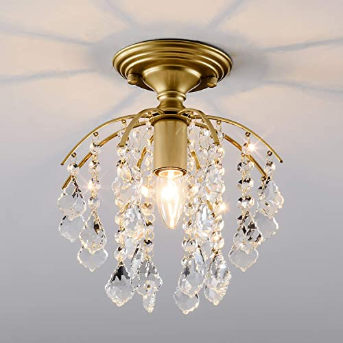 Crystal Chandelier, SOZOMO Elegant Chandelier Lighting with E26 Bulb Socket and Pure Crystal Strings, Flush Mount Chandelier for Bedroom,Hallway,Bar,Kitchen and Bathroom.Plating Finished.
