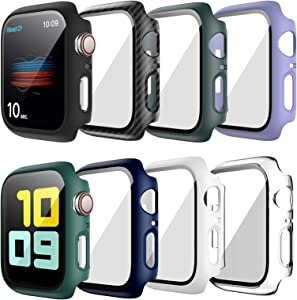 8 Pack Hard Case Compatible for Apple Watch Series 6 40mm SE with Built-in Tempered Glass Screen Protector,JZK Thin Bumper Full Coverage Bubble-Free Cover for iWatch Series SE/6/5/4 40mm Accessories